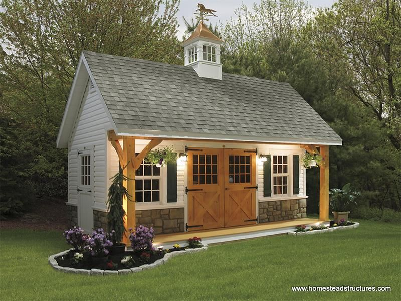 12 x 20 liberty a frame shed w timberframe porch vinyl for Backyard garages