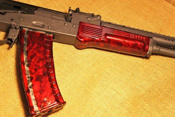 Ak 47 furniture in Reaper black  red candy  high gloss. Ak 47 furniture in Reaper black  red candy  high gloss   Guns