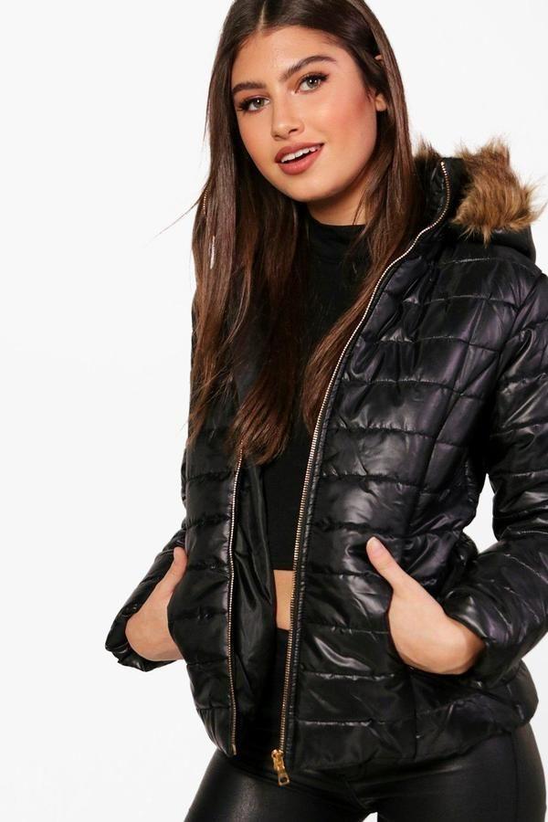 Crop Faux Fur Hood Padded Jacket In 2018 Fashion Inspo Pinterest