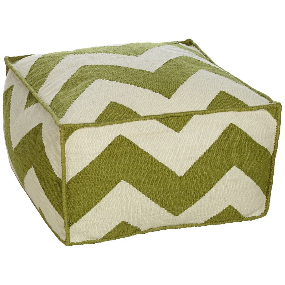 Amazing Wasabi Green Chevron Stripe Outdoor Pouf Ottoman Style Cjindustries Chair Design For Home Cjindustriesco