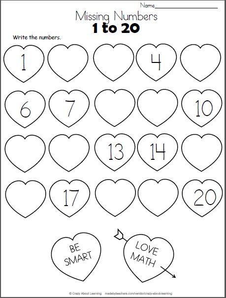 Valentine Math Worksheets For Preschool