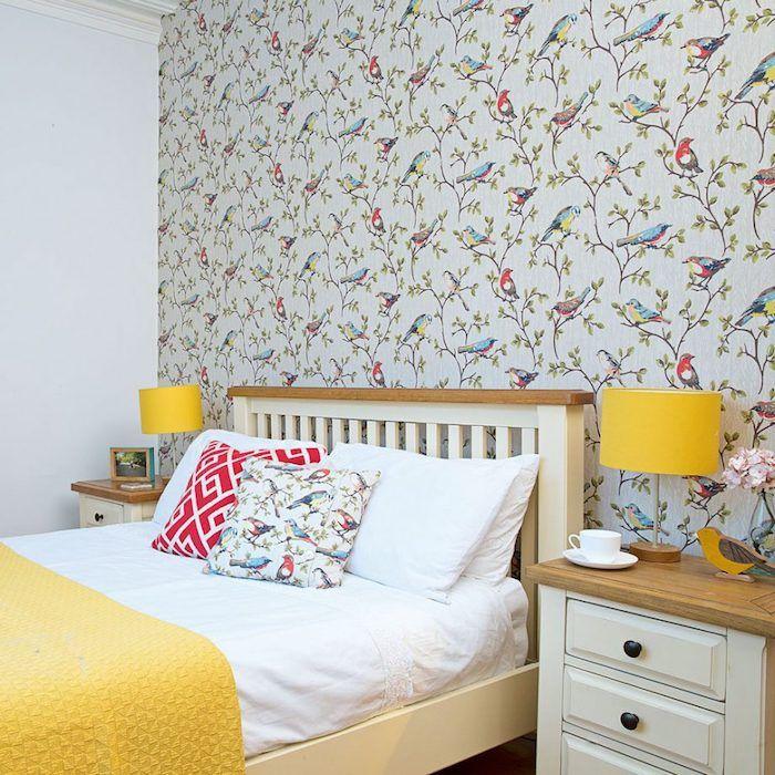 1001 astuces et id es pour choisir un papier peint chambre tendance chambre coucher. Black Bedroom Furniture Sets. Home Design Ideas