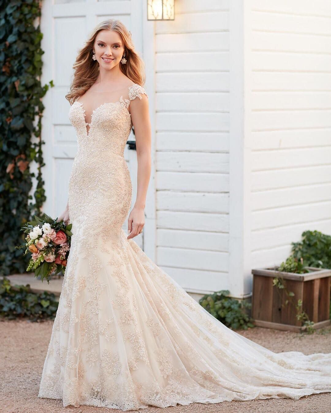 Wedding dresses for broad shoulders  Pin by Essense of Australia on Shop the look  Pinterest