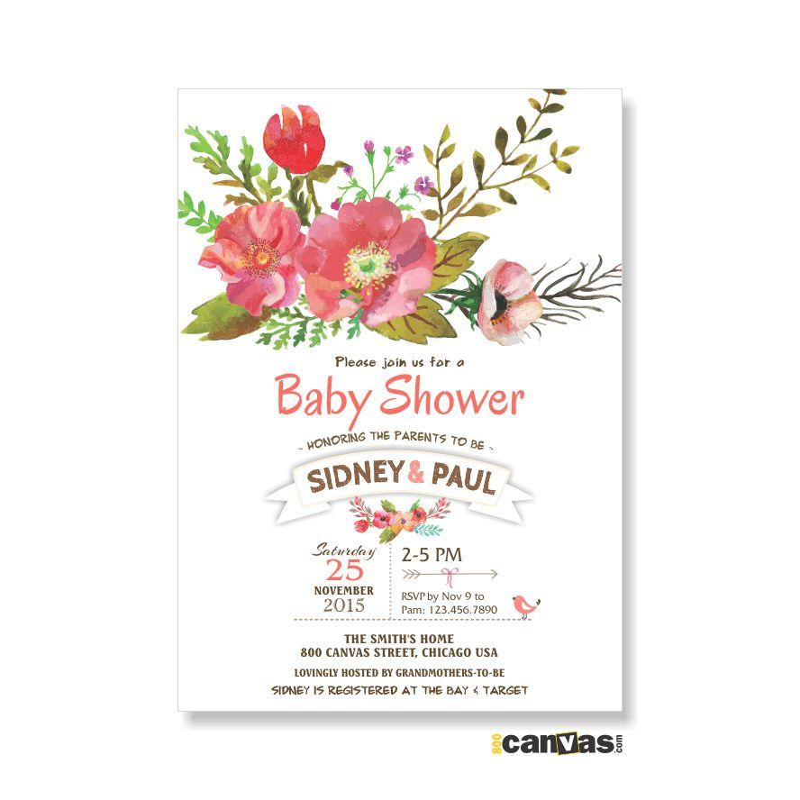 Baby Shower Invitation, Watercolor Flowers Baby Shower Invitation ...
