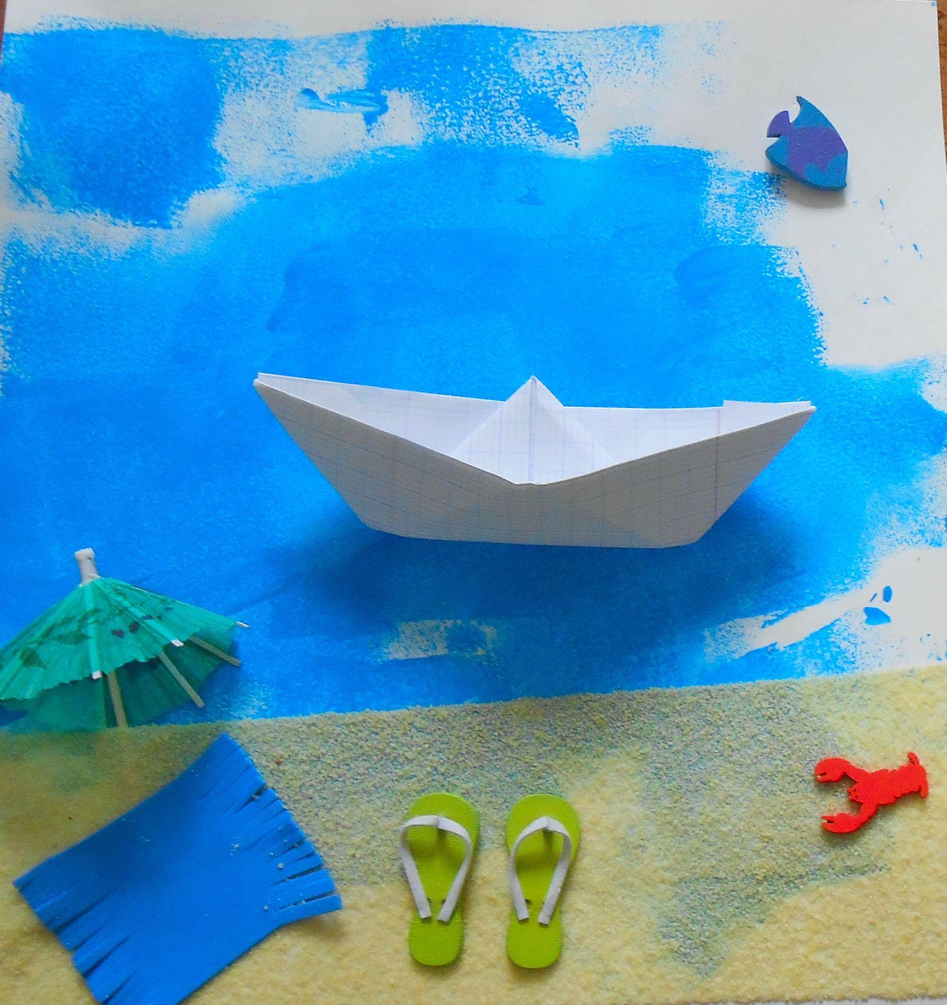 Collage d 39 t plage mer bateau la maison f erique plage enfants bricolage facile et - Activite manuelle ete ...