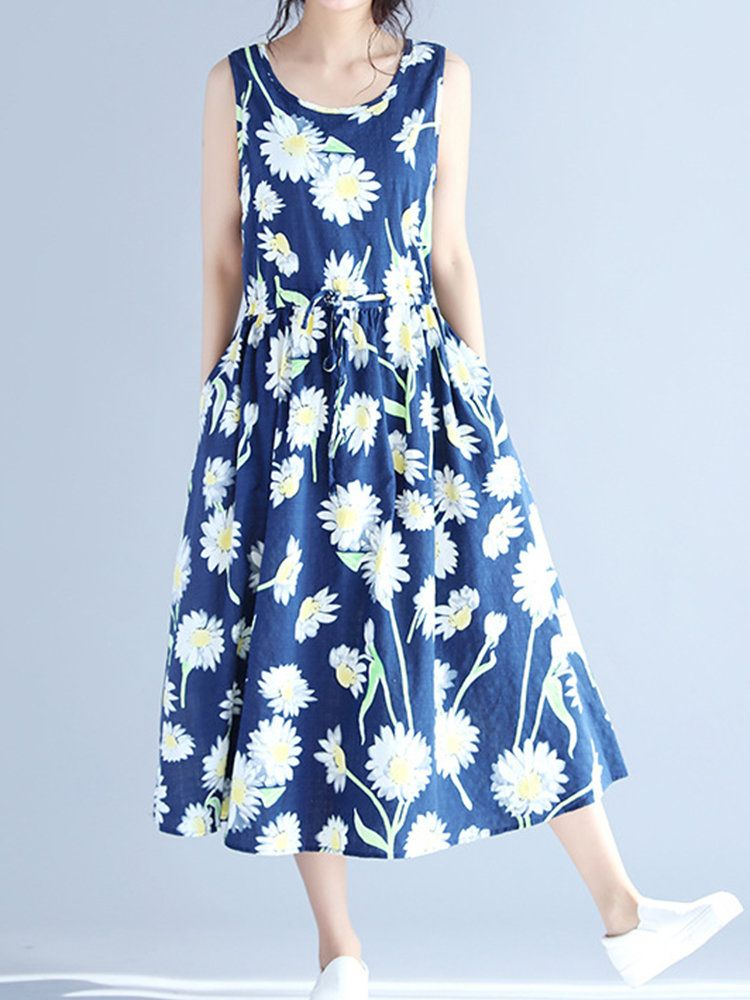 Women Sleeveless Floral Printed Long Maxi Vintage Dresses