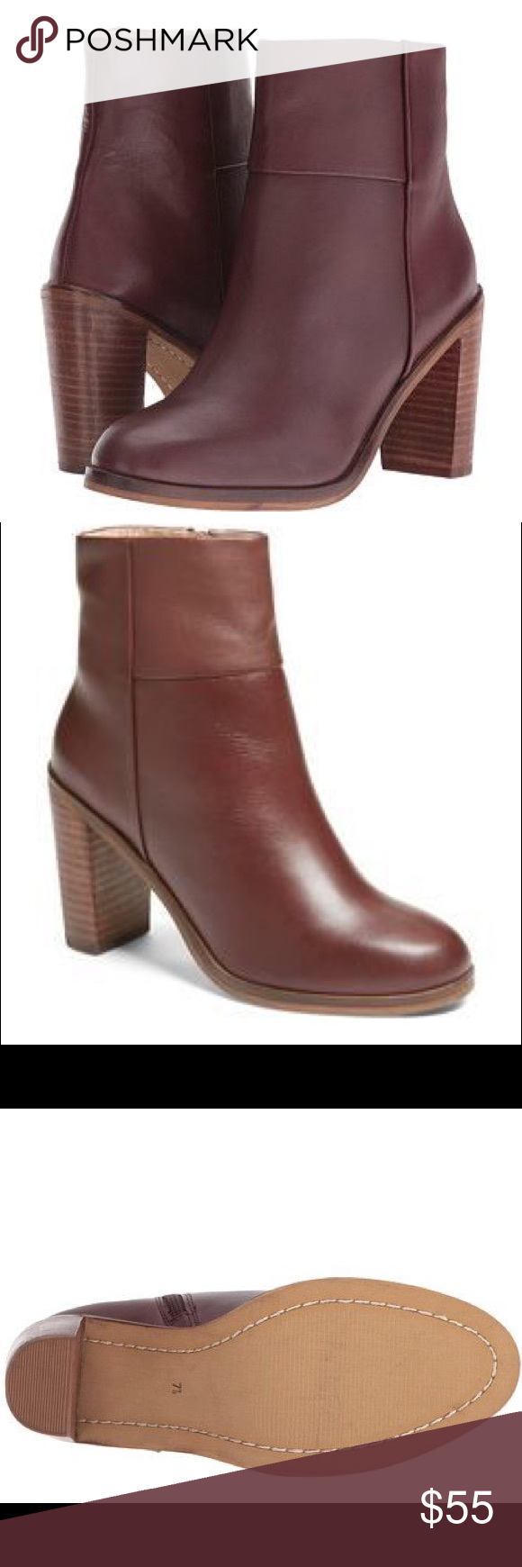 """Seychelles Gossip Block Heel Bootie A versatile addition to your everyday wardrobe, this block-heel bootie made from smooth leather is both sleek and modern. - 3 1/2"""" heel (size 8.5) - 5"""" shaft - Side zip closure - Leather upper/synthetic lining and sole - Imported - Women's Shoes Color is Oxblood Seychelles Shoes Ankle Boots & Booties"""