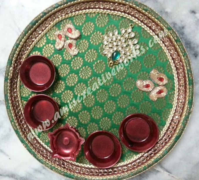 Aarti thali wedding decoration pinterest for Aarti thali decoration with kundan