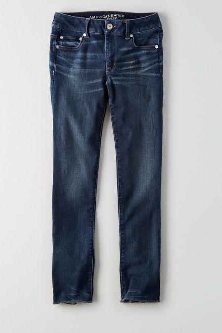 AEO Straight Crop Jeans, Women's, Size: 20 Regular, Dark Waves