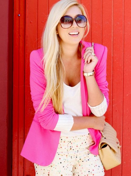 wanting a pink blazer! it will bring out my inner Elle Woods!