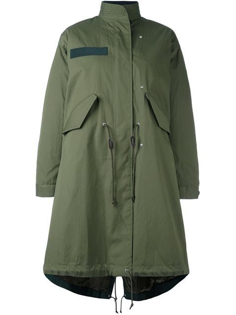 Shop Sacai layered fishtail parka in Banner from the world's best ...