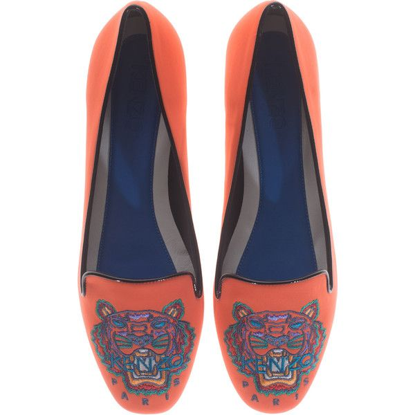 KENZO Brenda Neoprene Fluo Orange Embroidered neoprene loafer ($130) ❤ liked on Polyvore featuring shoes, loafers, flats, decorating shoes, loafers flats, loafers & moccasins, orange loafers and tiger print shoes