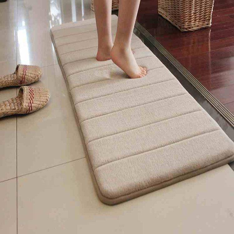 120x40cm Slow Recovery Foam Floor Mat Coral Velvet Anti Slip Absorbent Bath Door Carpet