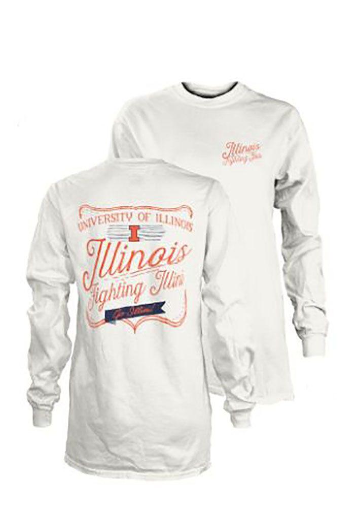 22484cd588f0 Illinois Fighting Illini Womens White Plato LS Tee, White, 100% COTTON,  Size M