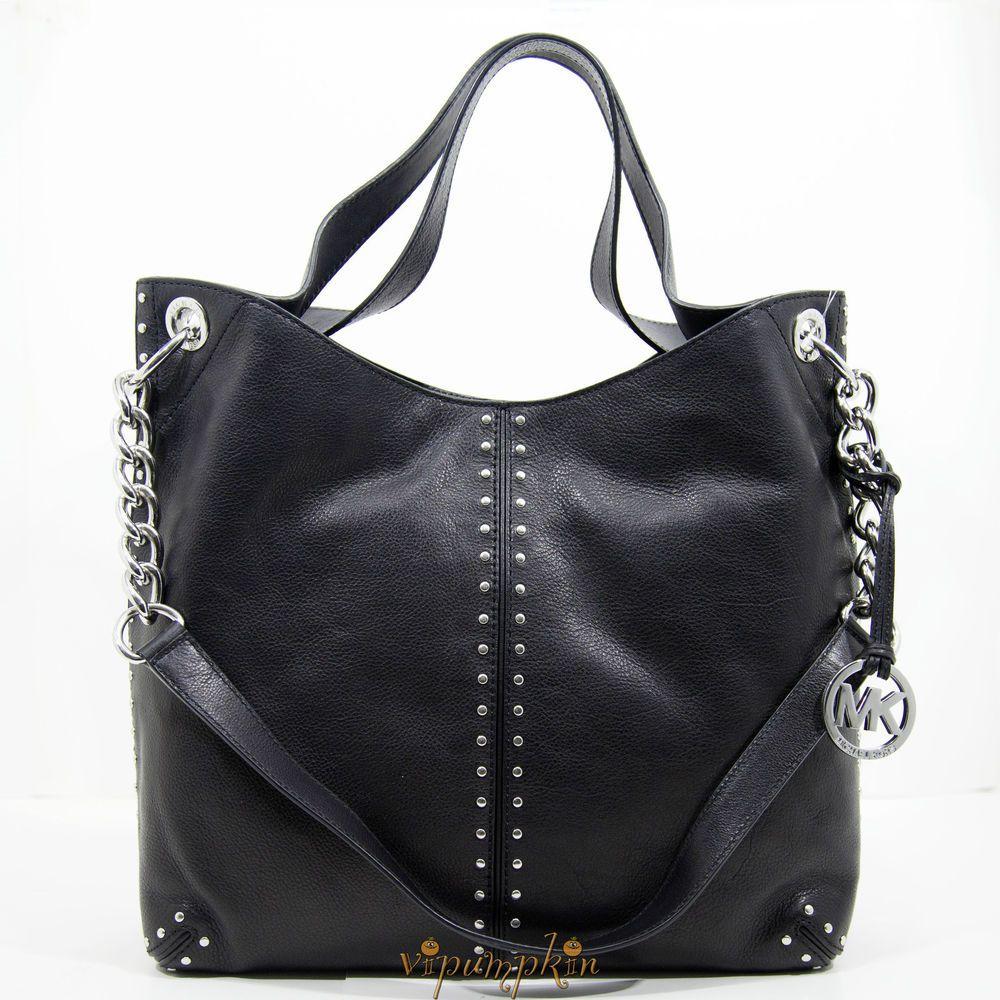e90435444bf0e6 MICHAEL KORS ASTOR BLACK LEATHER LARGE CHAIN SHOULDER | Fashion ...