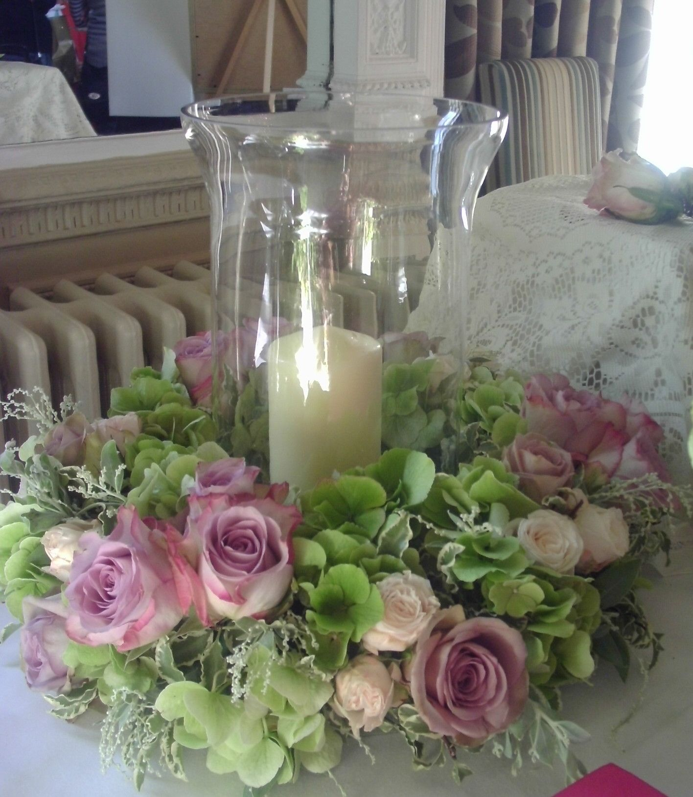 Hurricane lamp table centerpiece | Flower centerpieces wedding ...