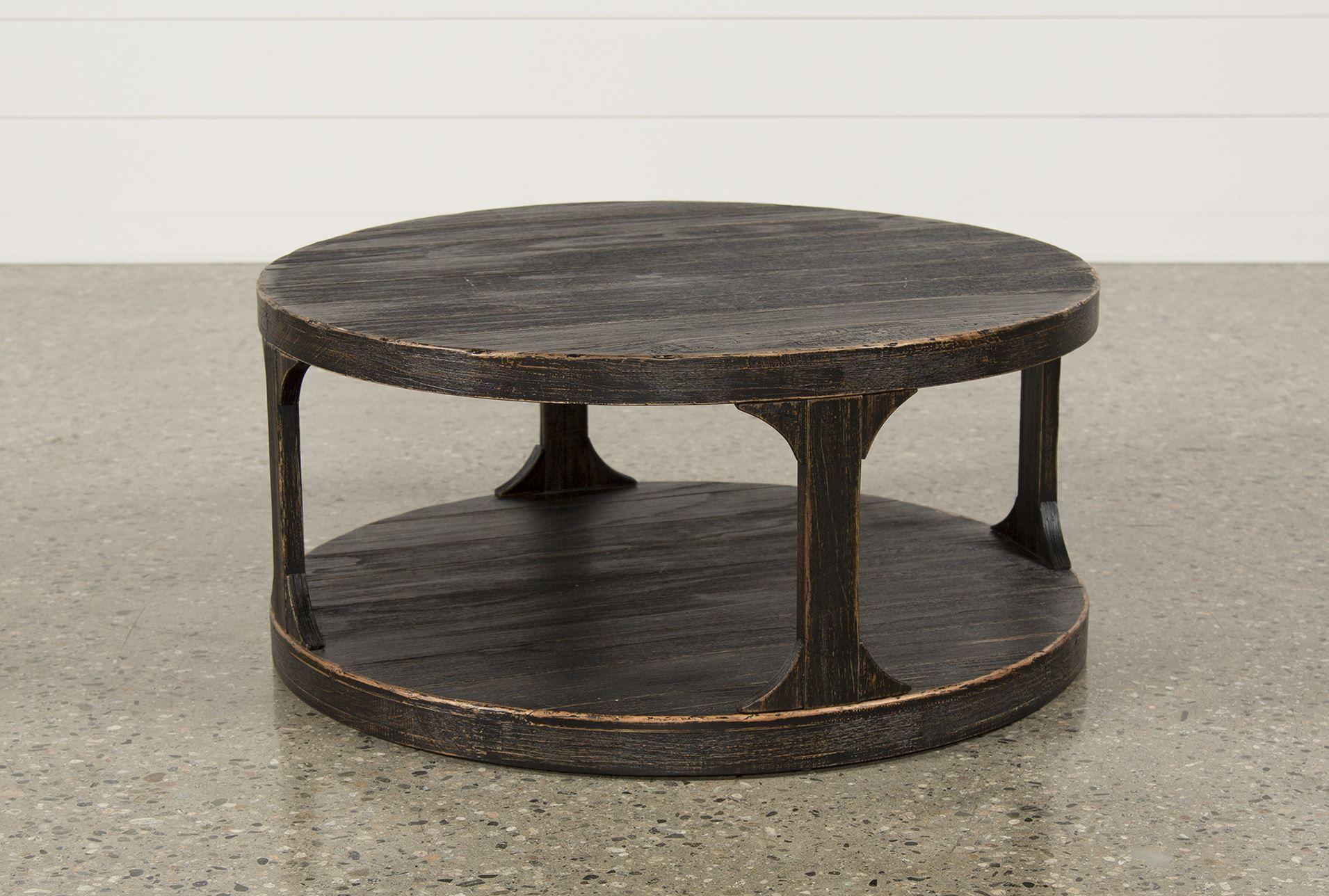 Rustic round coffee table collette round cocktail table