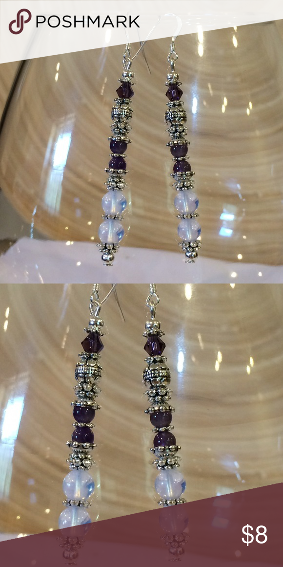 71c0fe9b5626 Amethyst and moonstone earrings These are made with 925 Sterling silver ear  wires. They have natural amethyst and Sri Lanka moonstone and purple  Swarovski ...
