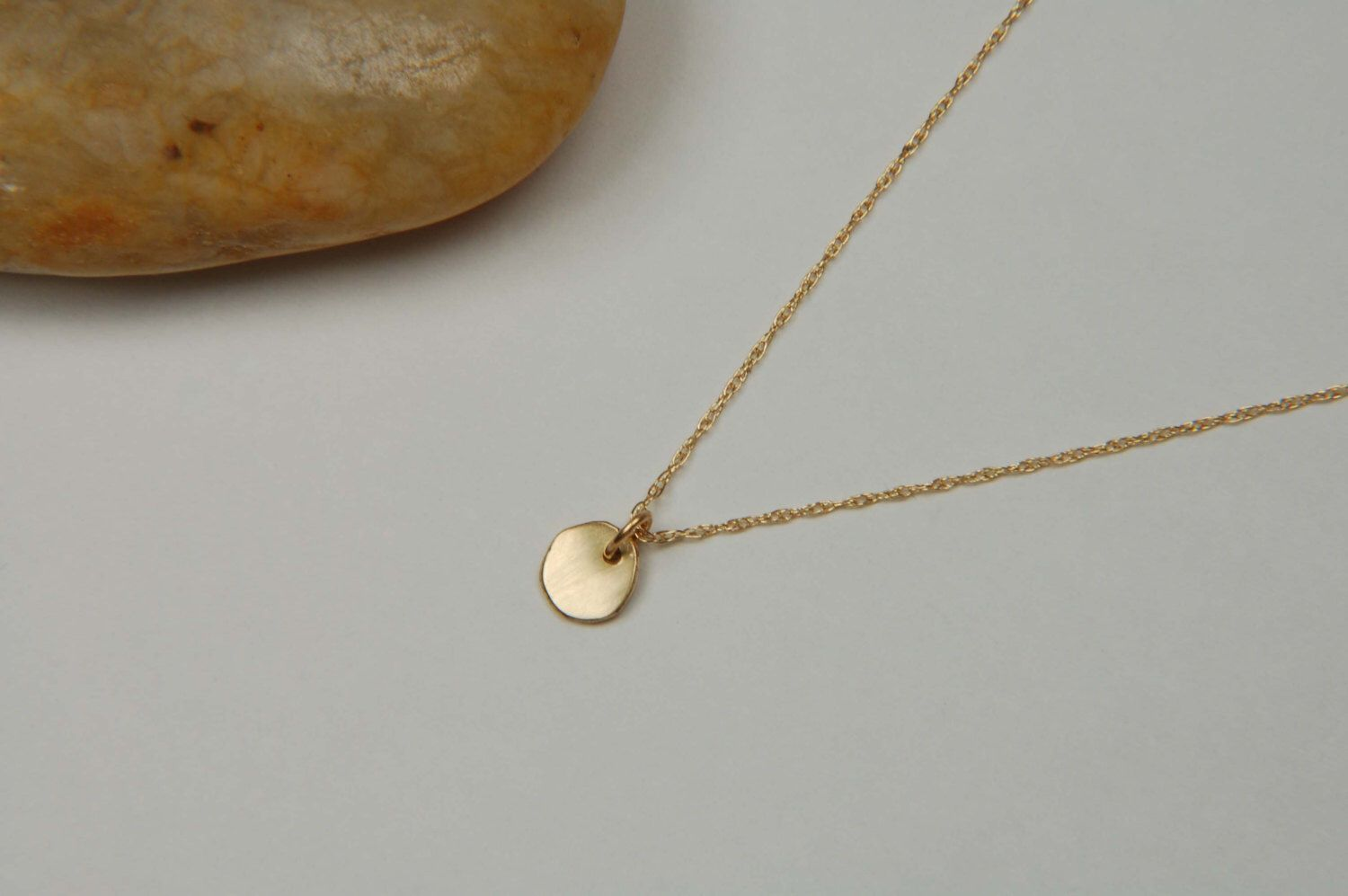 minimalist dainty solid simple nugget necklace handmade gold pin