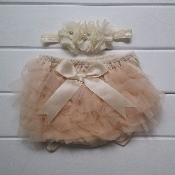 Baby Lace Bloomer Set Newborn Headband and by babycutelovely