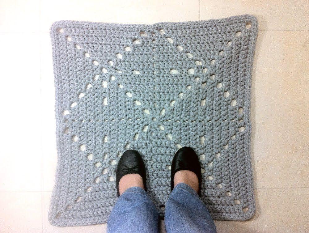 Tutorial c mo hacer alfombra cuadrada de trapillo a ganchillo trapillo pinterest crochet - Alfombras ganchillo trapillo ...