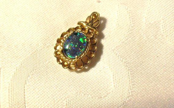 Vintage Estate Opal Pendant 14K Yellow Gold by EclairJewelry, $139.00