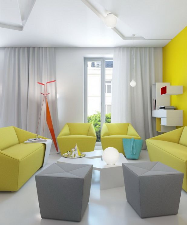 Red Yellow And White Small Apartment Interior Design Yellow Living Room Furniture Modern White Living Room Yellow Living Room #yellow #gray #and #white #living #room