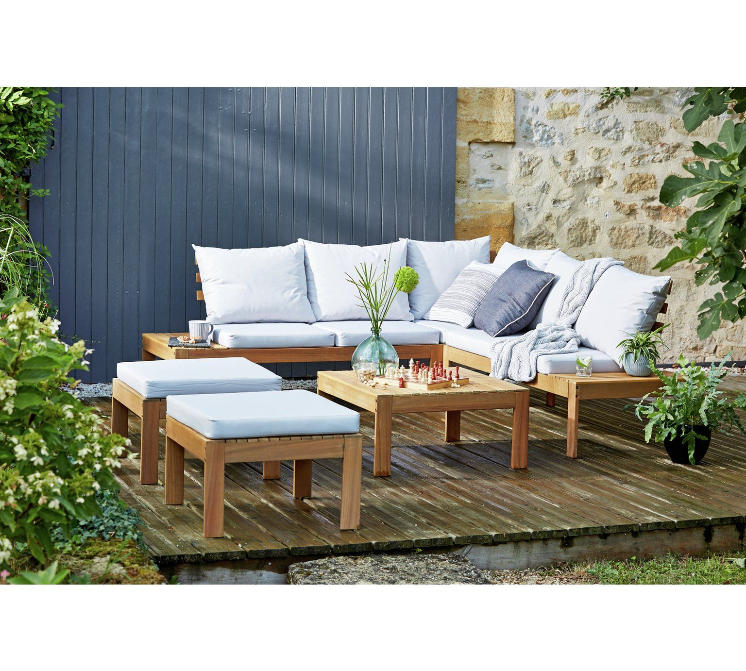 Buy Argos Home 6 Seater Wooden Corner Sofa Set Patio Sets Argos Corner Sofa Set Corner Sofa Garden Garden Sofa Set