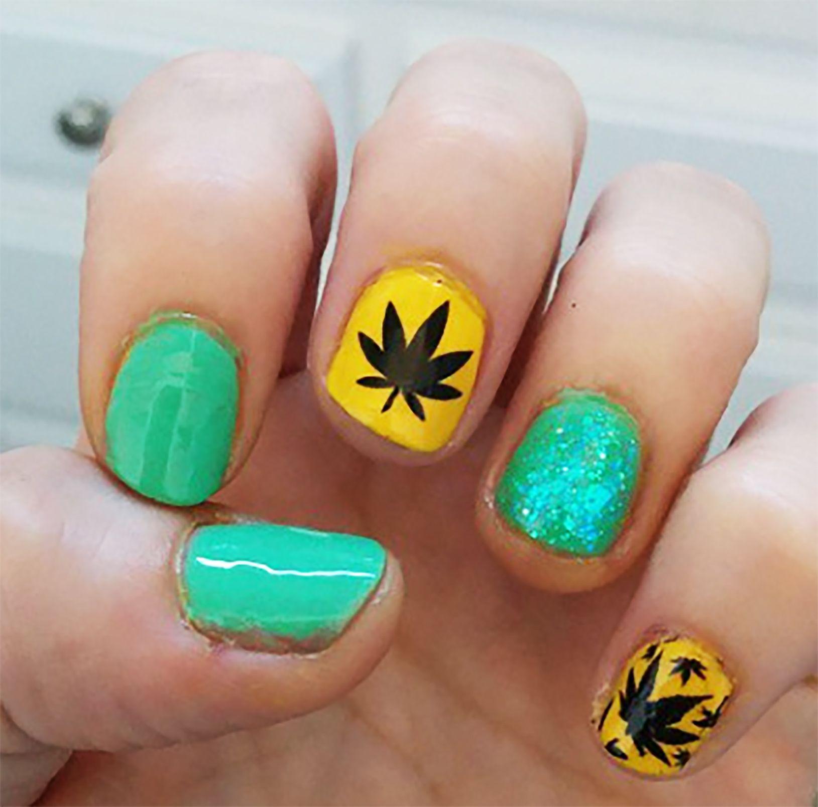 Marijuana Pot Leaf Nail Decals Set #1 | Pinterest | Nail decals