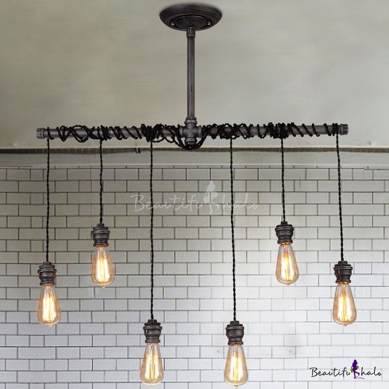 6 Lights Natural Iron 35 Wide Hanging Pipe Multi Light Pendant Beautifulhalo