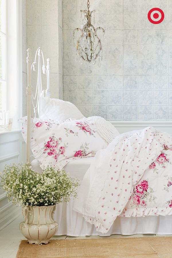 classic elegance comes in the form of this roseprint simply shabby chic bedding set
