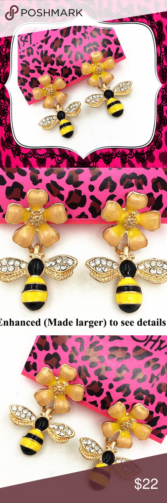 126f5b2ffaad8 Betsey Johnson Crystal, Flower & HoneyBee Earrings Crystal Enamel ...