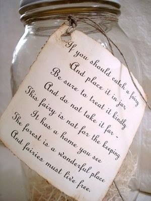 If you should catch a fairy and place her in a jar; be sure to treat her kindly and do not take her far. This fairy is not for the keeping; she has a home you see, the forest is a wonderful place and fairies must live free.