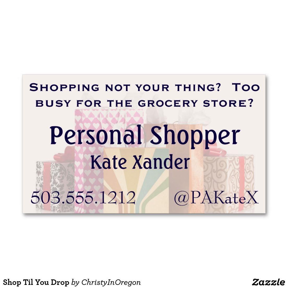 Shop Til You Drop Business Card | Business cards, Drop and Business