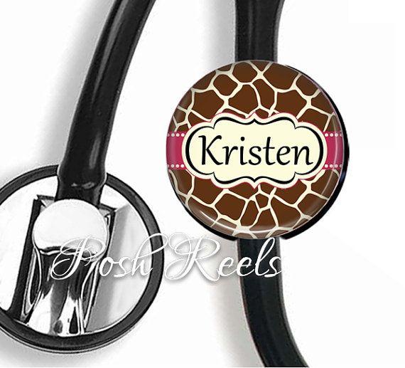 Stethoscope ID tag Personalized Giraffe Print and by PoshReels