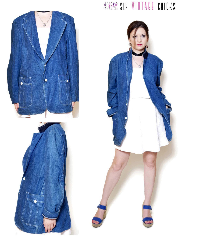 808e057b29cc jean jacket women denim jacket button down 80s clothing vintage womens  clothing rocker chic bohemian festival boho made in USA XXL by  SixVintageChicks on ...