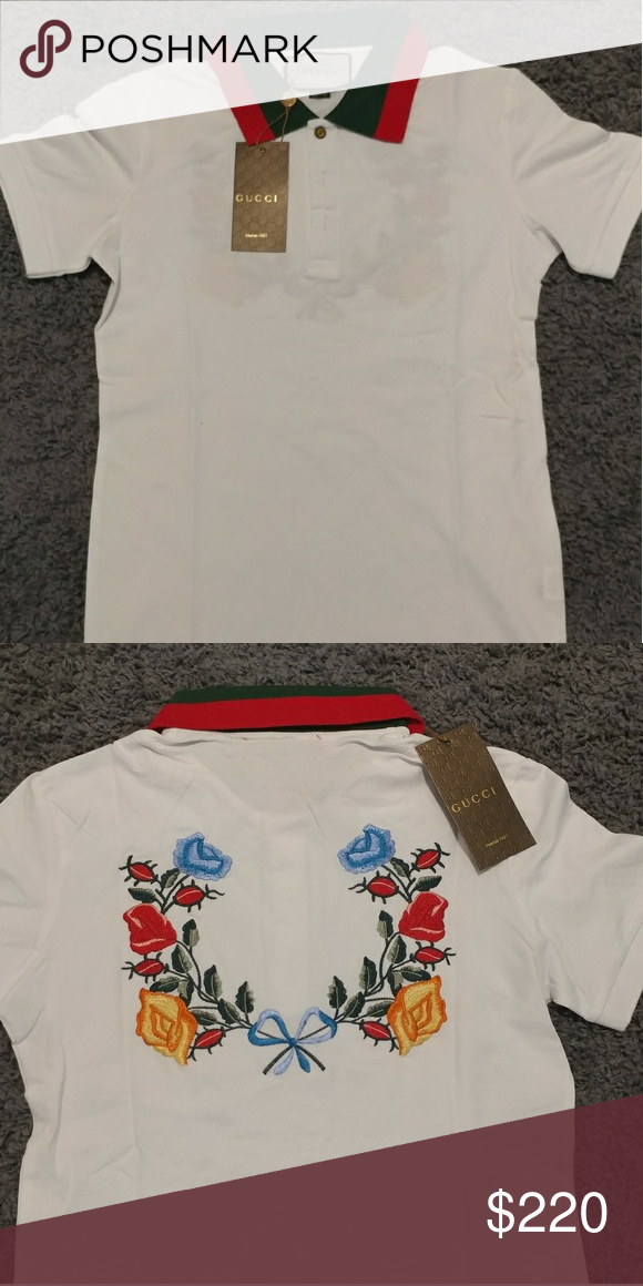 be7574f93366 Gucci shirt Floral New Gucci polo shirt with floral embroidery in back size  S Gucci Shirts Polos