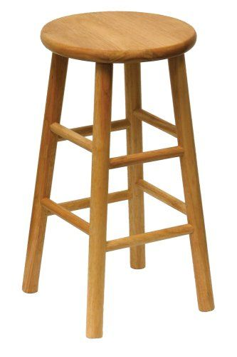 Winsome Wood 24inch Beveled Seat Barstool With Natural Finish Set