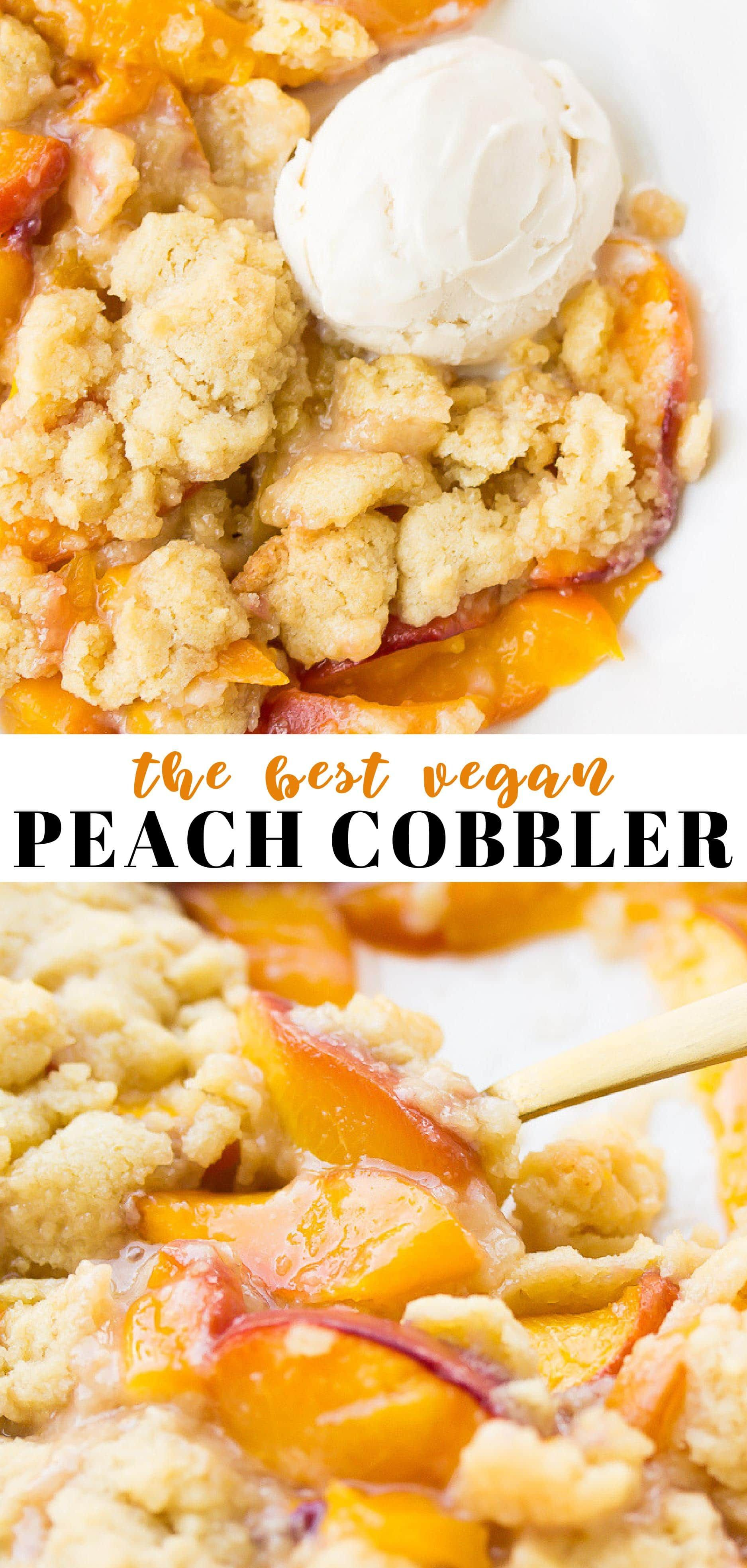 The best ever vegan peach cobbler! Perfect when peaches are in season, and SO easy to throw together! #vegan #plantbased #dairyfree #peachideas