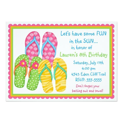 Traditional 17th Wedding Anniversary Gifts: Flip Flops Birthday Invitations