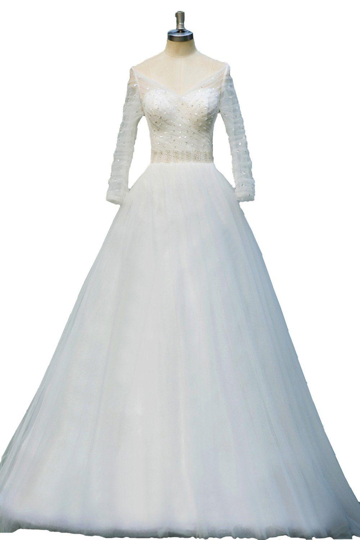 Honey qiao sheer v neck wedding dresses beads long sleeves bridal