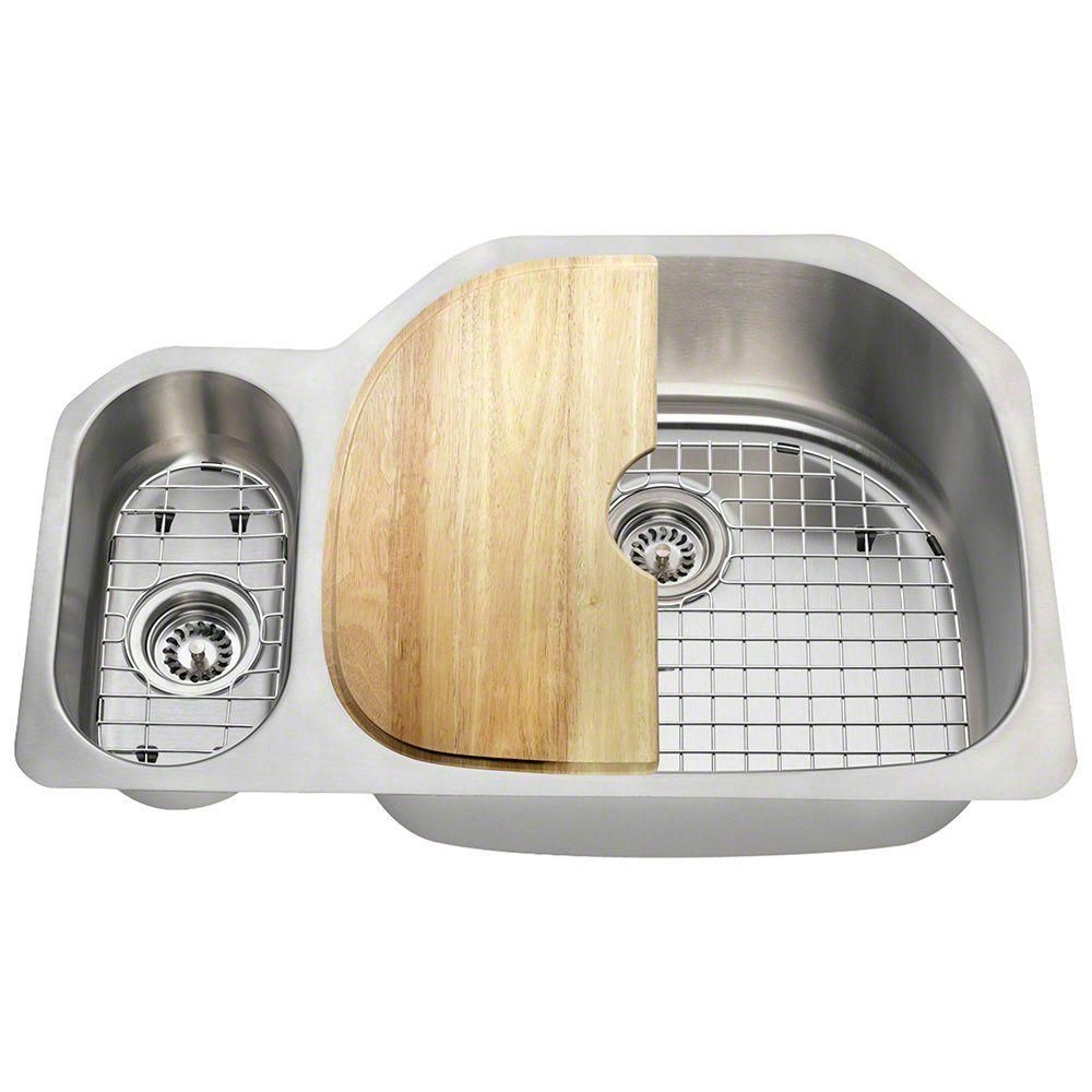 Polaris Sinks All-in-One Undermount Stainless Steel 32 in. Right ...