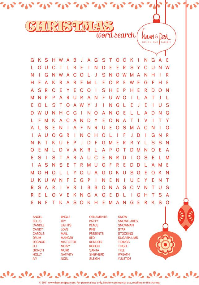 Christmas word search printable Kids holiday party! Pinterest