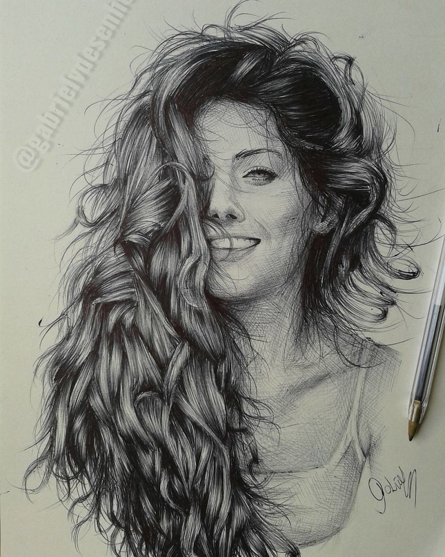Brazilian Artist Draws Portraits With Only A Ballpoint Pen That Look Extremely Realistic