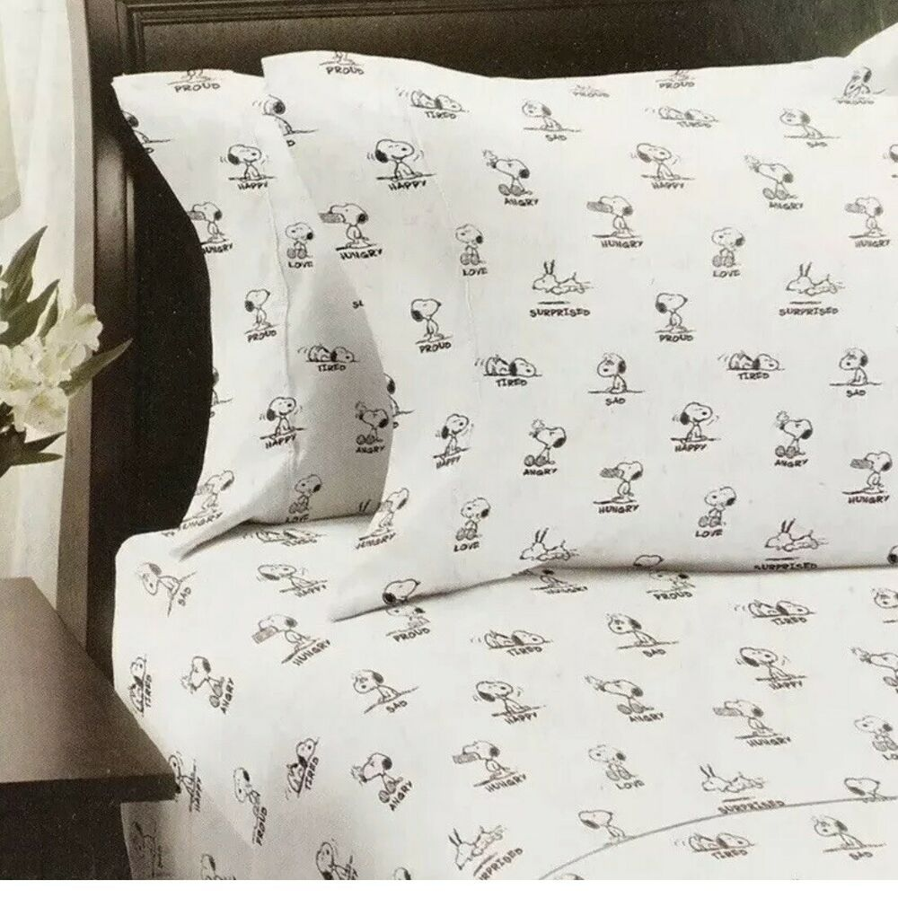Berkshire Queen Sheet Set Peanuts Snoopy Emotion White