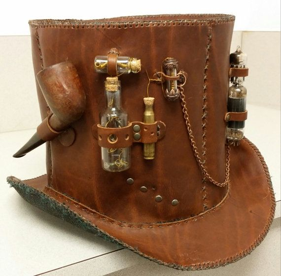 Steampunk leather top hat with briar smoking pipe vials full of clockwork parts radio tubes - Steampunk style vestimentaire ...