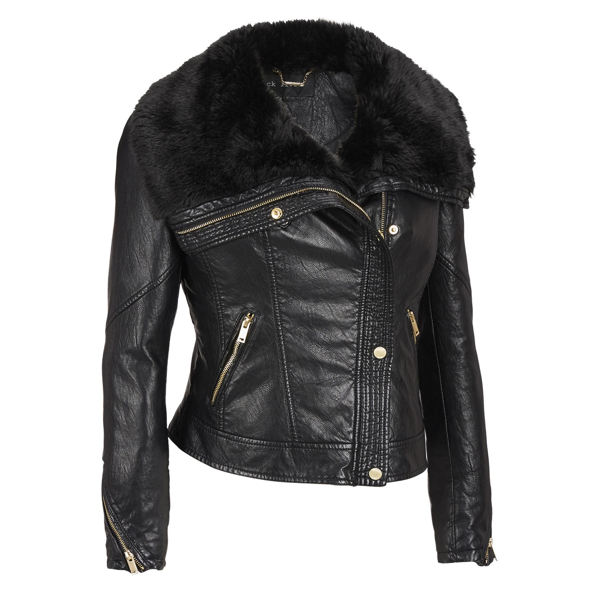 Black Rivet FauxLeather Asymmetric Zip Jacket w/FauxMink