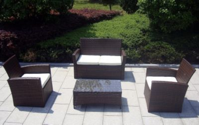 Good Mira Loungeset teilig Akazie Geflecht Rattan Mixed Brown Kissen Royal Blendes Black Garten Pinterest
