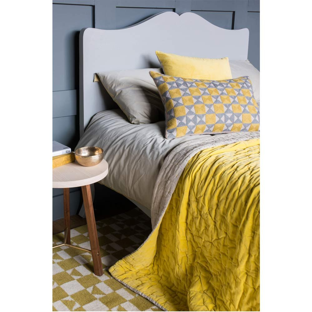 Chartreuse Yellow Velvet Quilted Bedspread Stylish beds