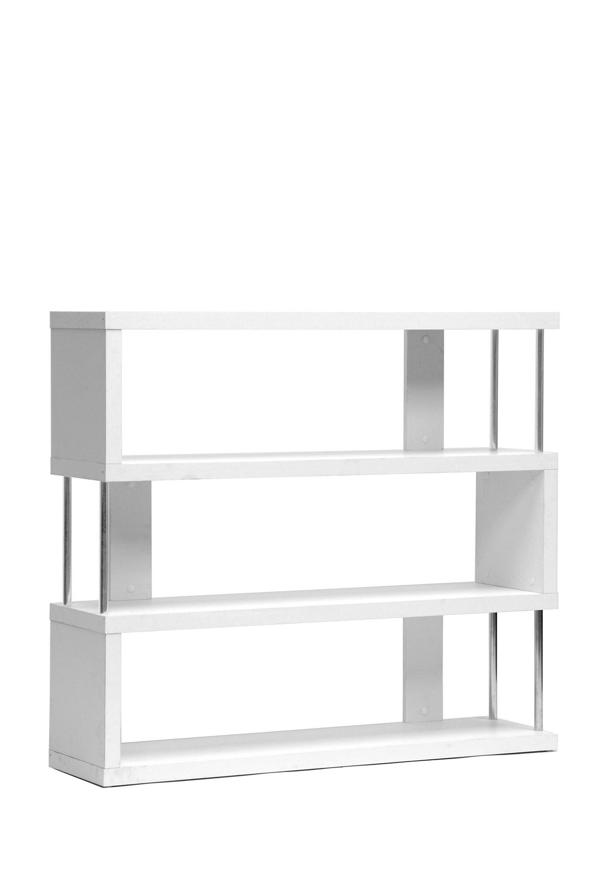 Wholesale Interiors Barnes White Three Shelf Modern